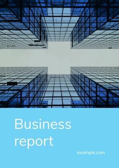 Modèle de couverture de rapport d'activité psd avec photographie d'immeuble de grande hauteur