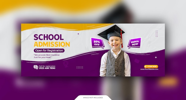 Modèle de couverture sociale et de bannière web d'admission à l'école