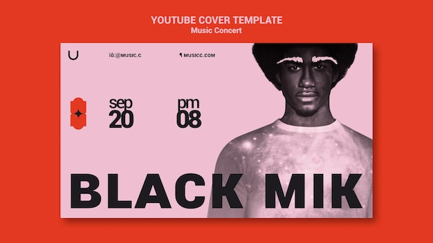 Modèle de couverture youtube de concert de musique