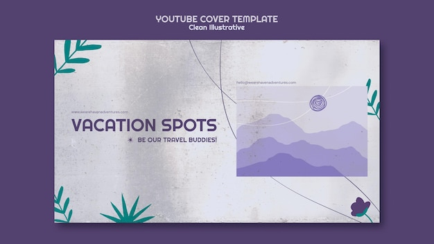 Modèle de couverture youtube illustratif propre