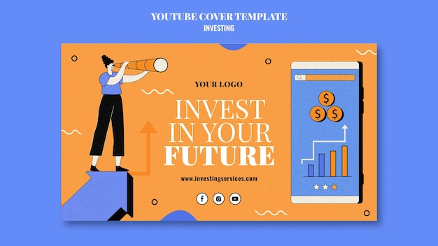 Modèle de couverture youtube d'investissement illustré