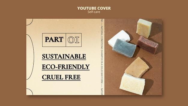 Modèle de couverture youtube de savon de shampooing