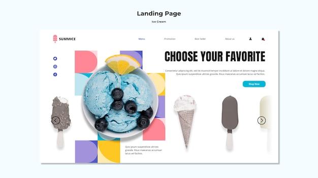 Modèle de crème glacée de page de destination