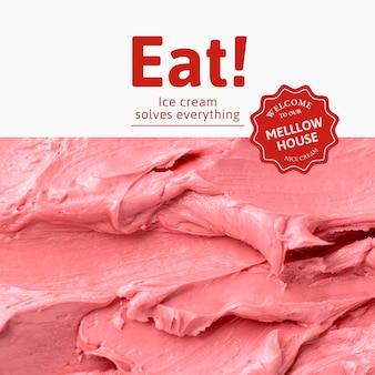 Modèle de crème glacée psd avec texture de glaçage rose pour les médias sociaux