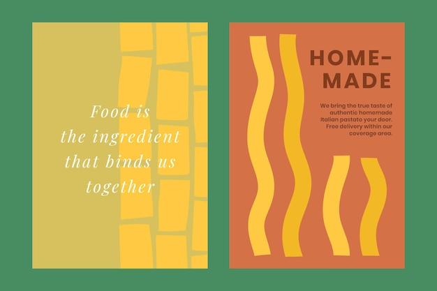 Modèle de doodle de pâtes mignon psd pour le double ensemble d'affiches de nourriture