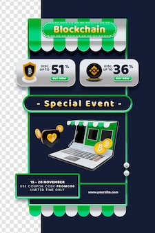 Modèle d'e-mail de blogueur de commerce électronique de blockchain de rendu 3d