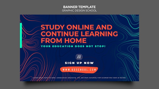 Modèle d'école de conception graphique de bannière