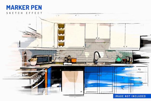 Modèle d'effet photo de croquis de stylo marqueur