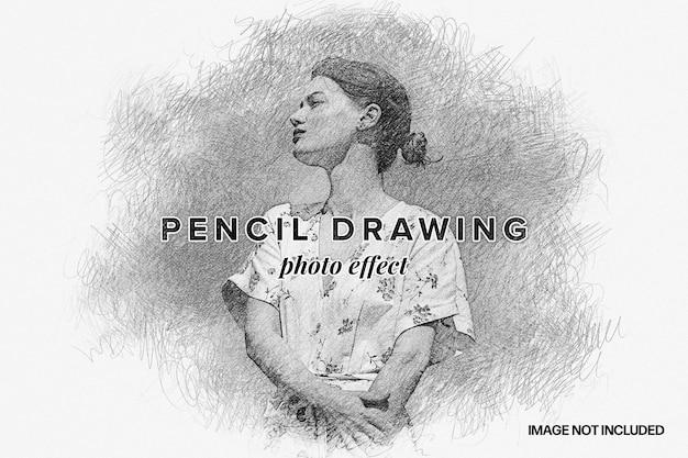 Modèle d'effet photo de dessin au crayon