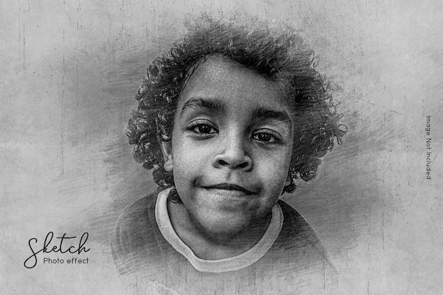 Modèle d'effet photo d'esquisse au crayon