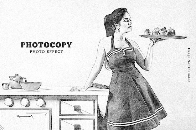 Modèle d'effet photo de photocopie