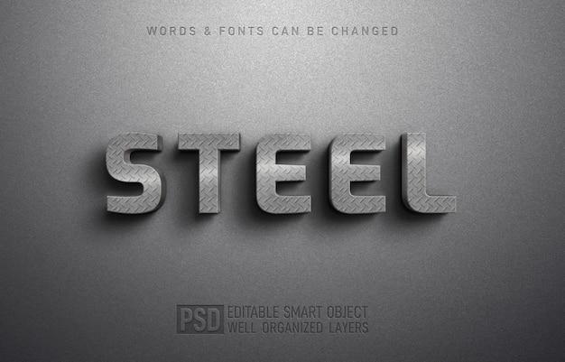 Modèle d'effet de style de texte 3d en acier