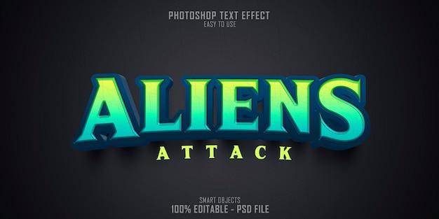 Modèle d'effet de style de texte 3d aliens