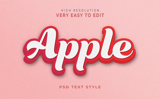 Modèle d'effet de style de texte 3d apple