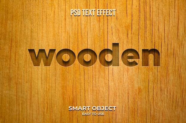 Modèle d'effet de style de texte 3d en bois