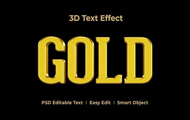 Modèle d'effet de style de texte 3d gold
