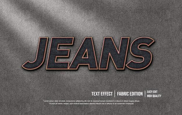 Modèle d'effet de style de texte 3d jeans