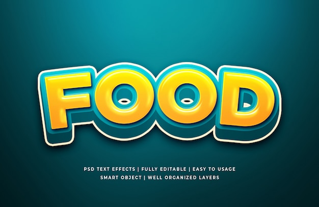 Modèle d'effet de style de texte 3d de nourriture audacieuse