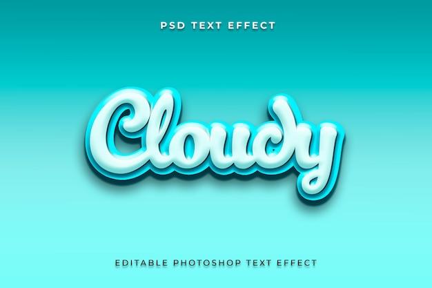 Modèle d'effet de style de texte 3d nuageux
