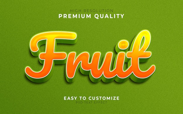Modèle d'effet de style de texte 3d orange fruit