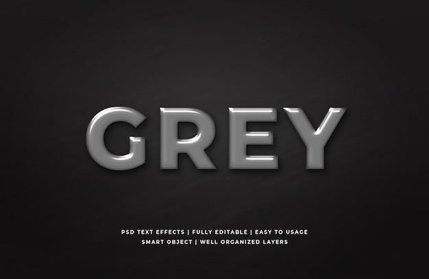 Modèle d'effet de style de texte 3d en plastique gris