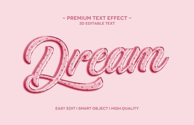 Modèle d'effet de style de texte 3d de rêve