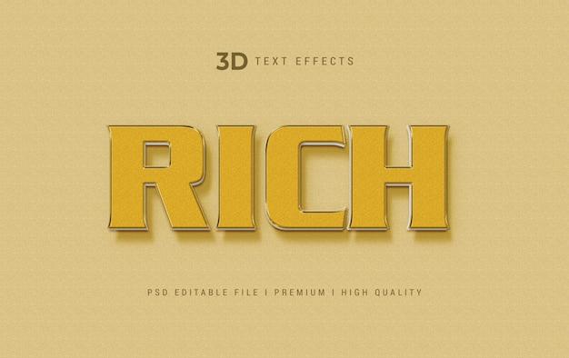 Modèle d'effet de style de texte 3d riche