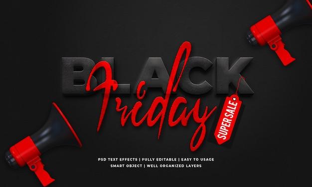 Modèle d'effet de style de texte 3d vendredi noir