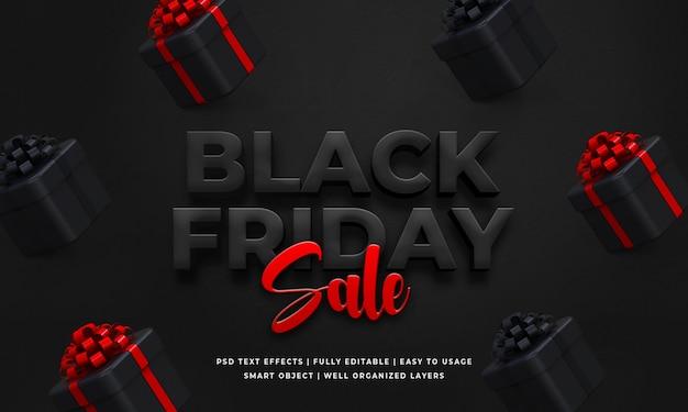 Modèle d'effet de style de texte 3d vente vendredi noir