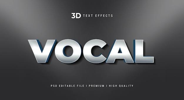 Modèle d'effet de style de texte 3d vocal
