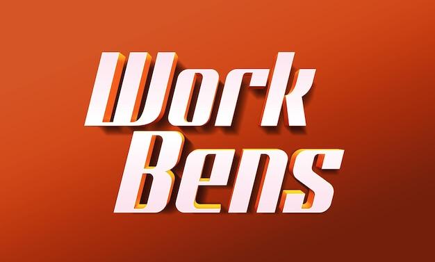Modèle d'effet de style de texte 3d work bens