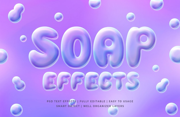Modèle d'effet de style de texte de bulles de savon