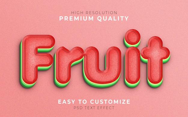Modèle d'effet de style de texte de fruits 3d pastèque