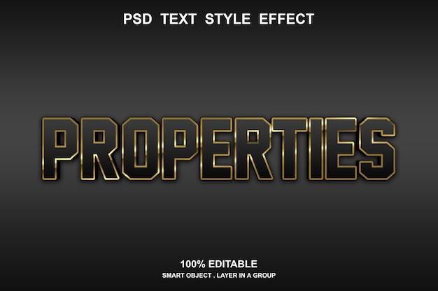 Modèle d'effet de style de texte de propriétés