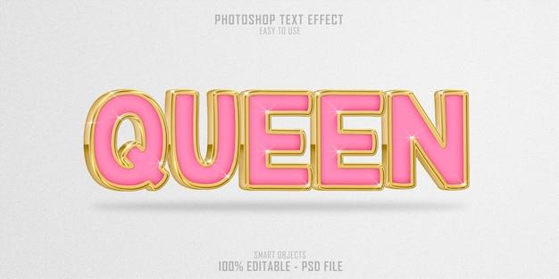 Modèle d'effet de style de texte rose queen