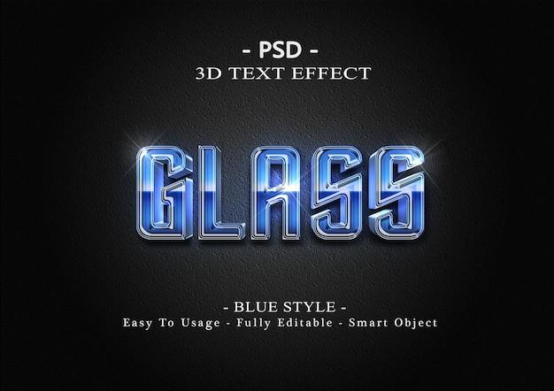 Modèle d'effet de style de texte en verre bleu 3d