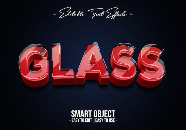 Modèle d'effet de style de texte en verre réaliste 3d
