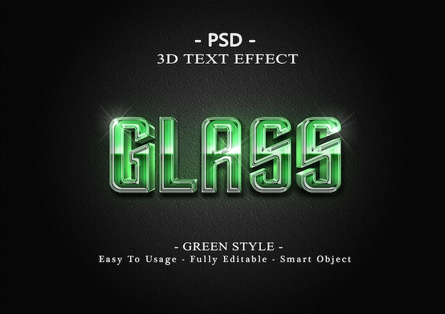 Modèle d'effet de style de texte de verre vert 3d