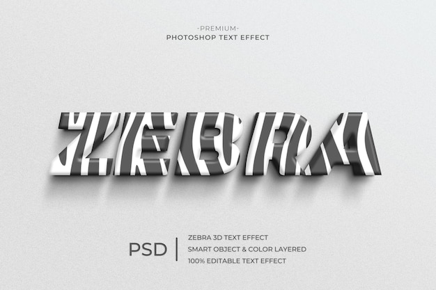 Modèle d'effet de style de texte zèbre 3d