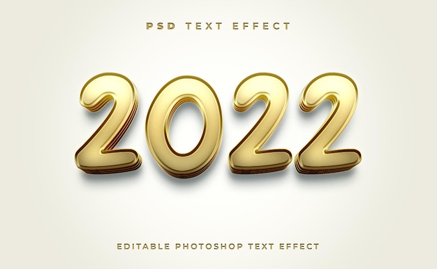 Modèle d'effet de texte 3d 2022 avec couleur or