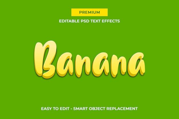 Modèle d'effet de texte 3d de banane - fruit jaune