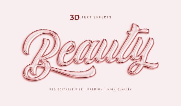 Modèle d'effet de texte 3d de beauté
