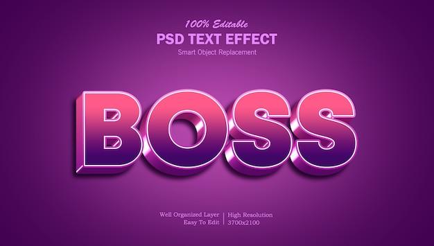 Modèle d'effet de texte 3d boss