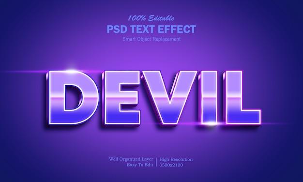 Modèle d'effet de texte 3d brillant diable