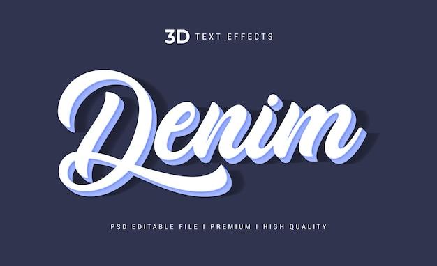 Modèle d'effet de texte 3d en denim