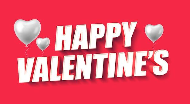 Modèle d'effet de texte 3d happy valentine's day