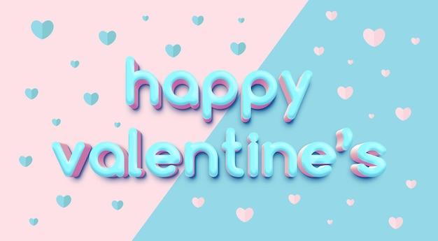 Modèle d'effet de texte 3d de happy valentine