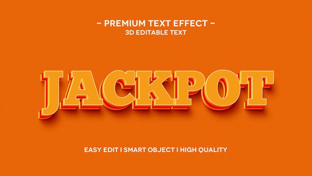 Modèle d'effet de texte 3d jackpot