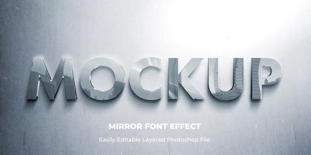 Modèle d'effet de texte 3d miroir en verre