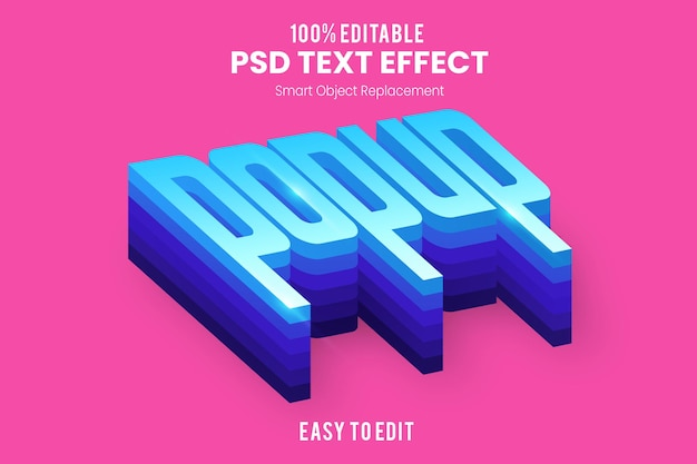 Modèle d'effet de texte 3d popup